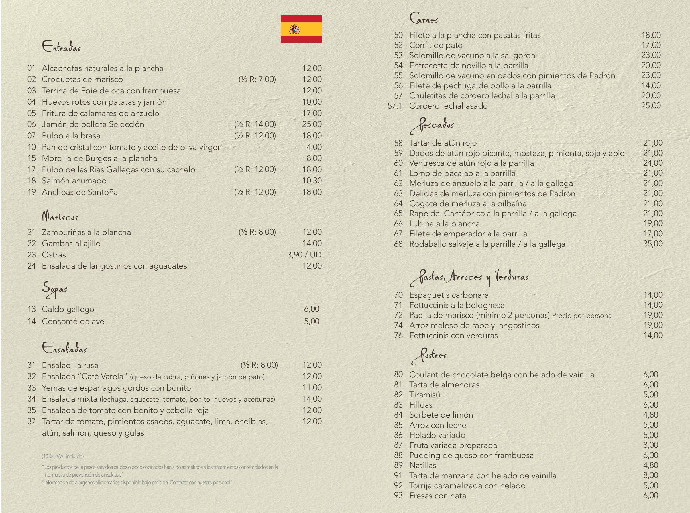 Carta de restaurante cafe famoso Madrid