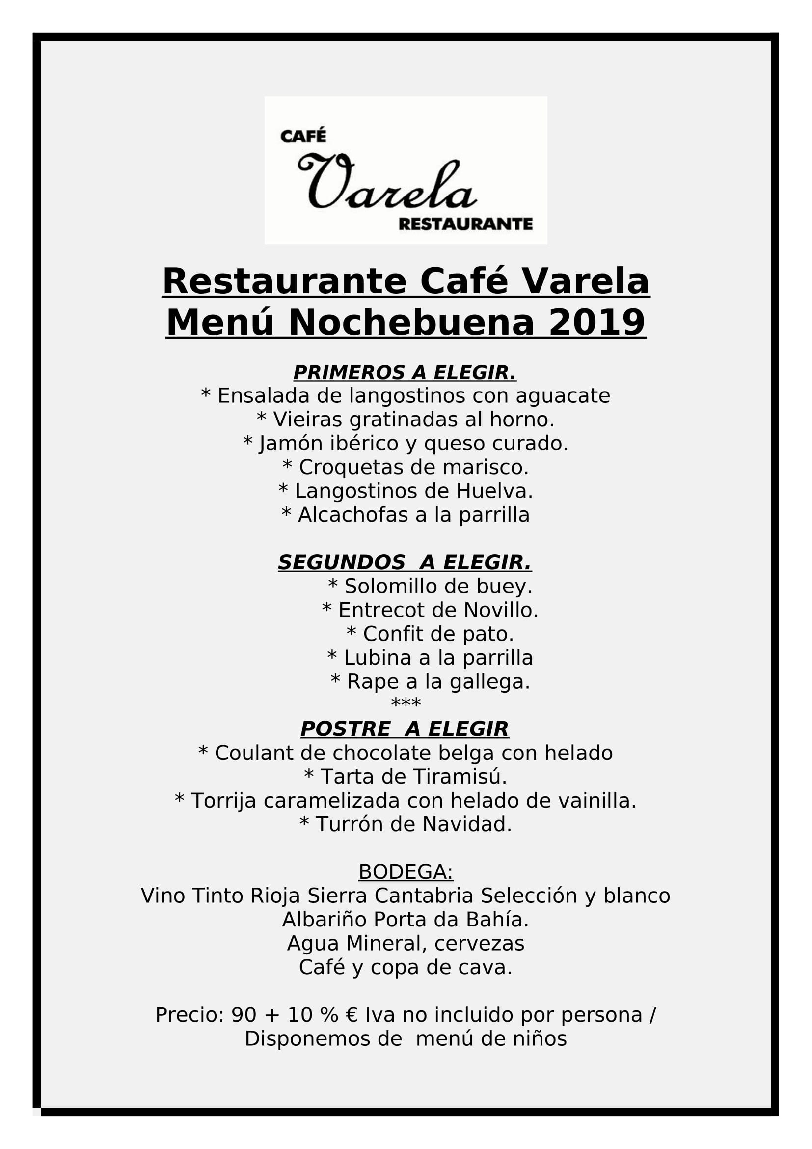 Menu nochebuena cafe emblematico Madrid